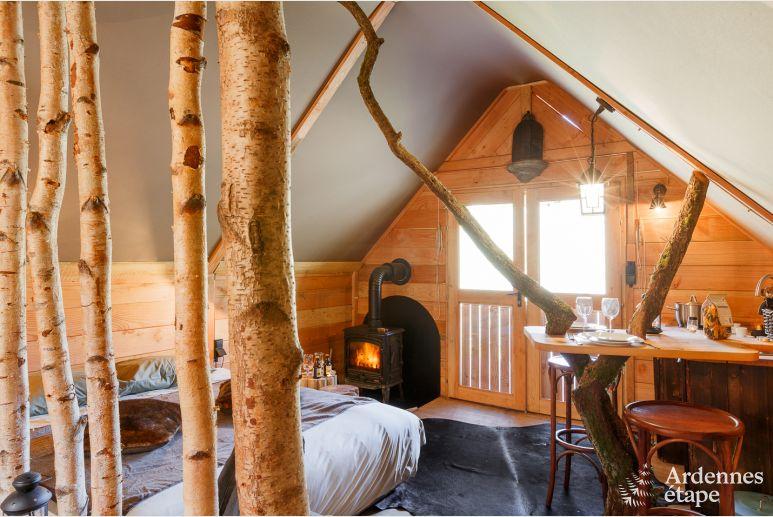 Persoons houten chalet mady met sauna en speeltoestellen in de